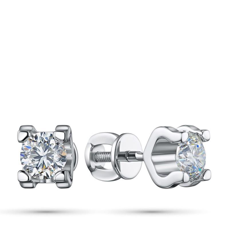 Пусеты из белого золота с бриллиантом э0901пс06200855