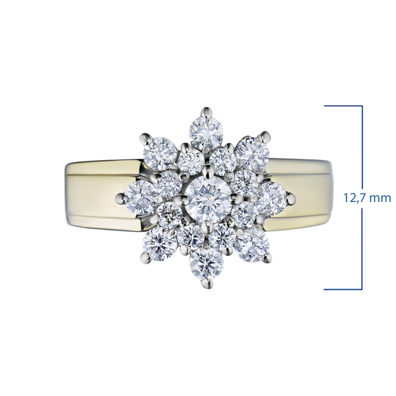 Кольцо из комбинированного золота с бриллиантами э1001кц09160400 (фото 3)