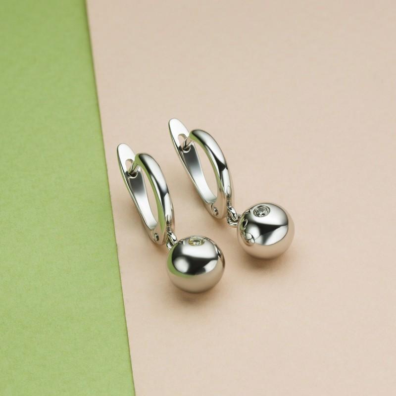 Серьги из белого золота с бриллиантами э0901сг05153800 (фото 4)