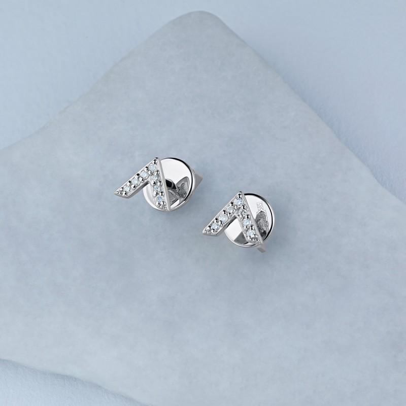 Пусеты из белого золота с бриллиантом э0901пс03210512 (фото 4)