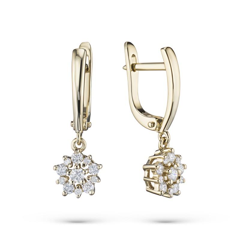 Серьги из желтого золота с бриллиантами э0301сг10182600