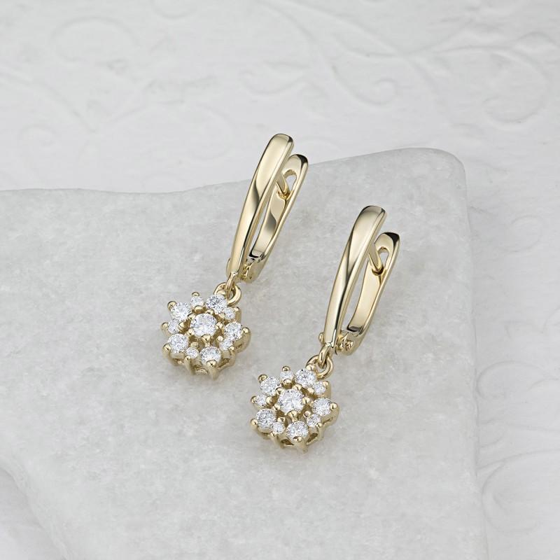 Серьги из желтого золота с бриллиантами э0301сг10182600 (фото 4)
