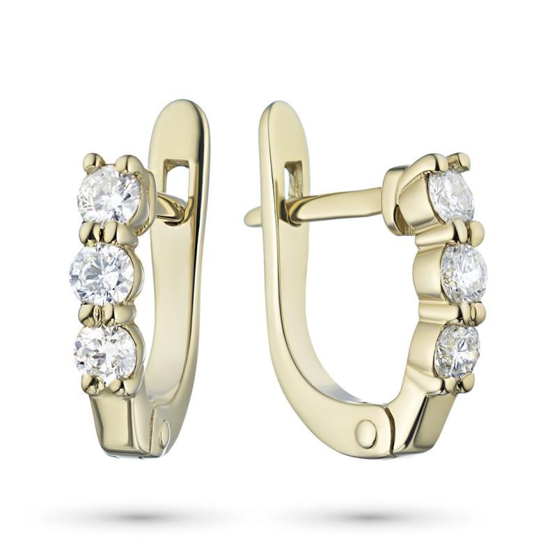 Серьги из желтого золота с бриллиантом э0301сг09170500