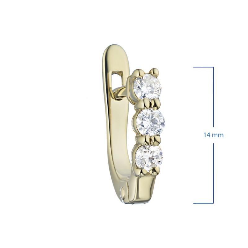 Серьги из желтого золота с бриллиантом э0301сг09170500 (фото 2)