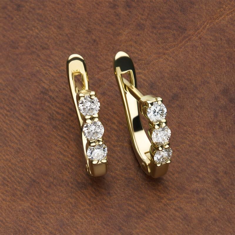 Серьги из желтого золота с бриллиантом э0301сг09170500 (фото 4)