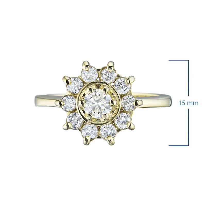 Кольцо из желтого золота с бриллиантами э0301кц04202940 (фото 2)