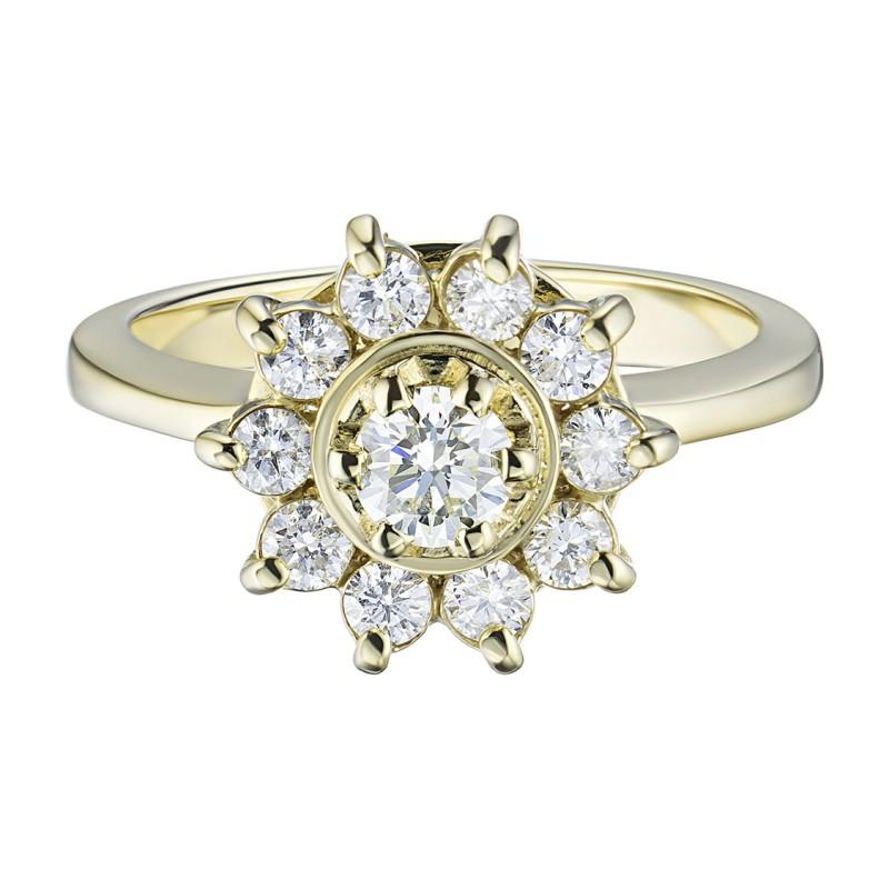 Кольцо из желтого золота с бриллиантами э0301кц04202940 (фото 3)