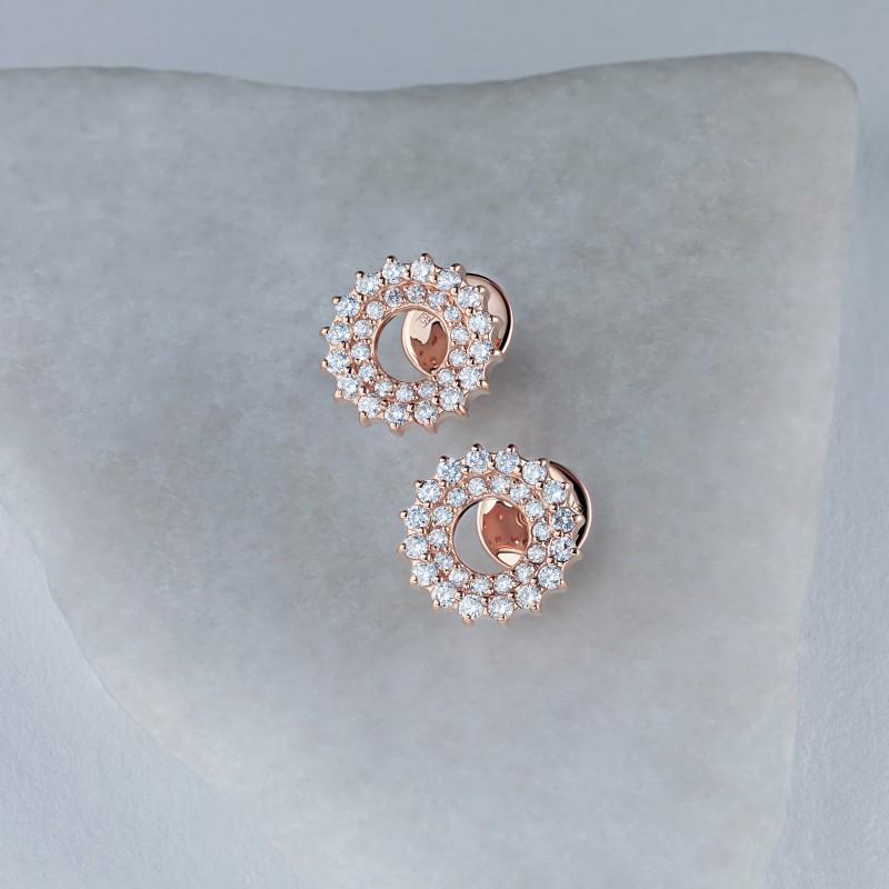 Пусеты из красного золота с бриллиантами э0201пс04210016 (фото 4)