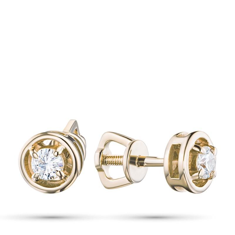 Пусеты из желтого золота с бриллиантом э0301пс04203000