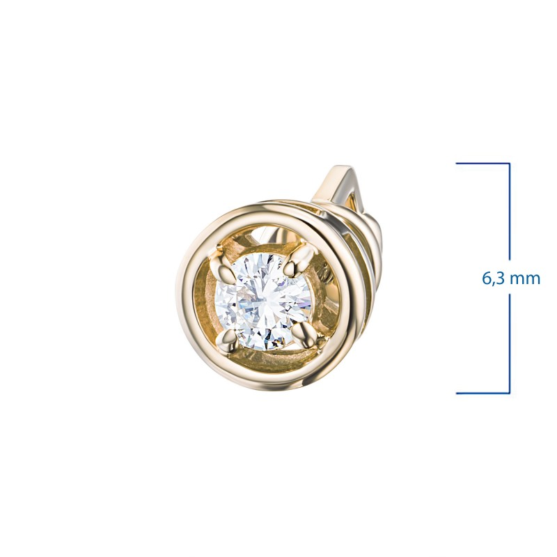 Пусеты из желтого золота с бриллиантом э0301пс04203000 (фото 3)