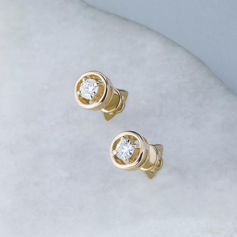 Пусеты из желтого золота с бриллиантом э0301пс04203000 (фото 4)