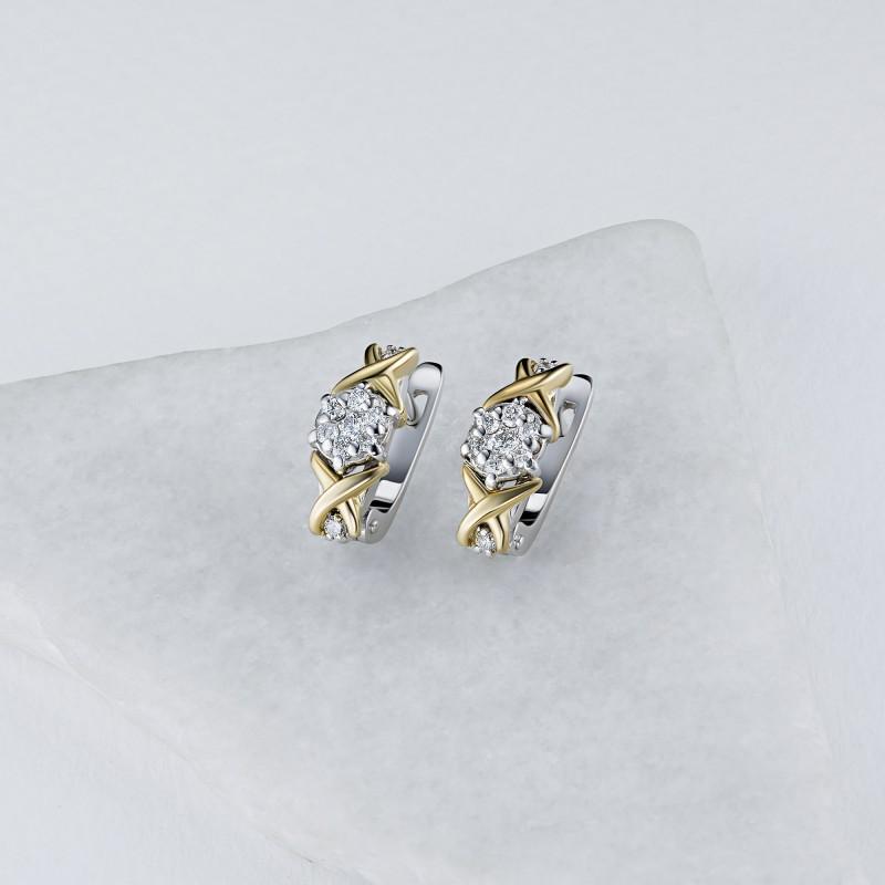 Серьги из комбинированного золота с бриллиантами э1001сг02203650 (фото 4)