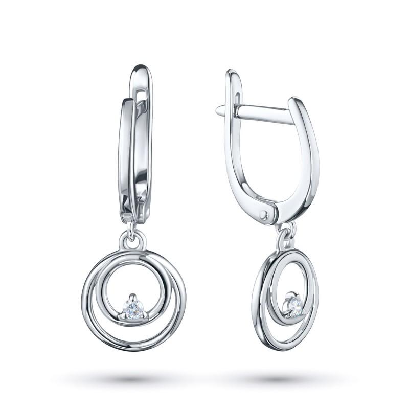 Серьги из серебра с бриллиантом э0601сг10172800