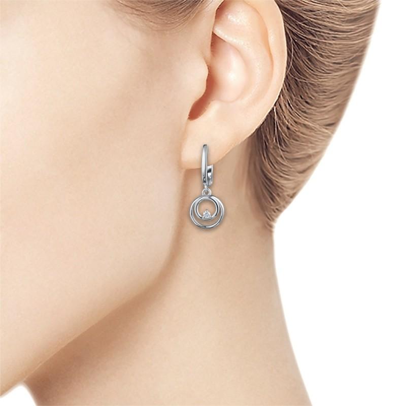 Серьги из серебра с бриллиантом э0601сг10172800 (фото 2)