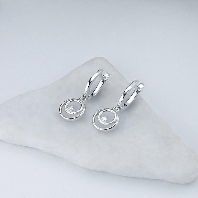 Серьги из серебра с бриллиантом э0601сг10172800 (фото 4)