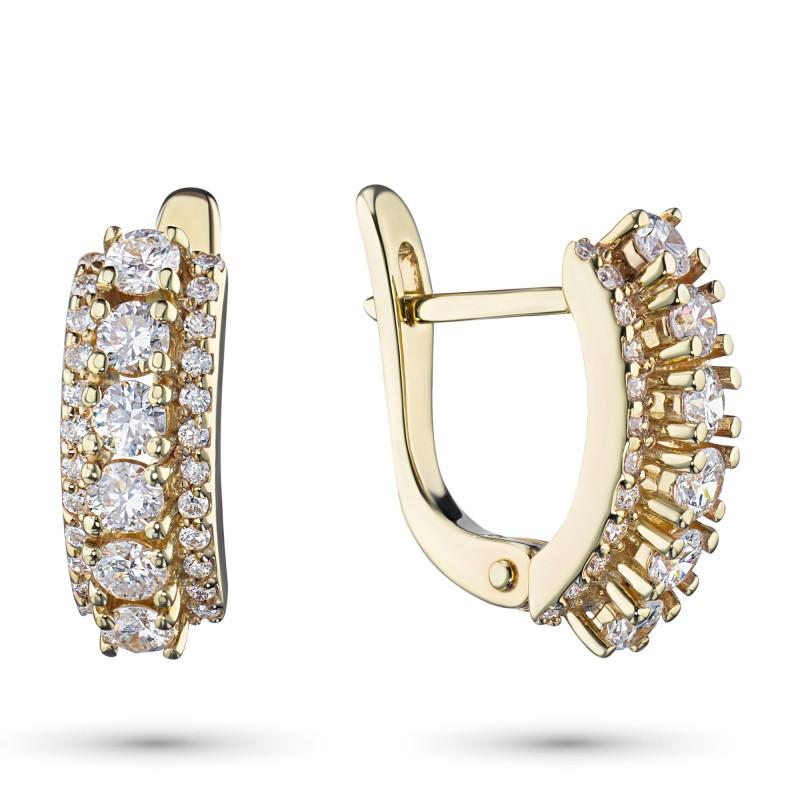 Серьги из желтого золота с бриллиантами э0301сг04201623
