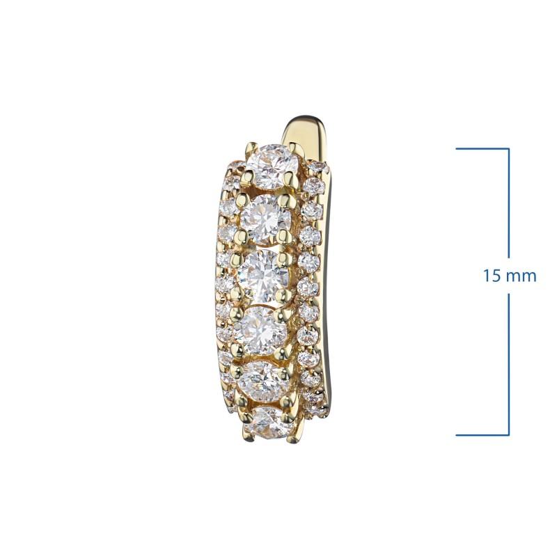 Серьги из желтого золота с бриллиантами э0301сг04201623 (фото 2)
