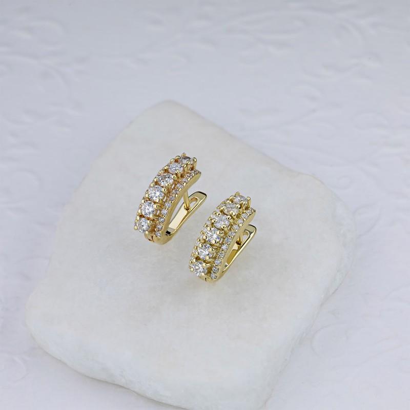 Серьги из желтого золота с бриллиантами э0301сг04201623 (фото 4)
