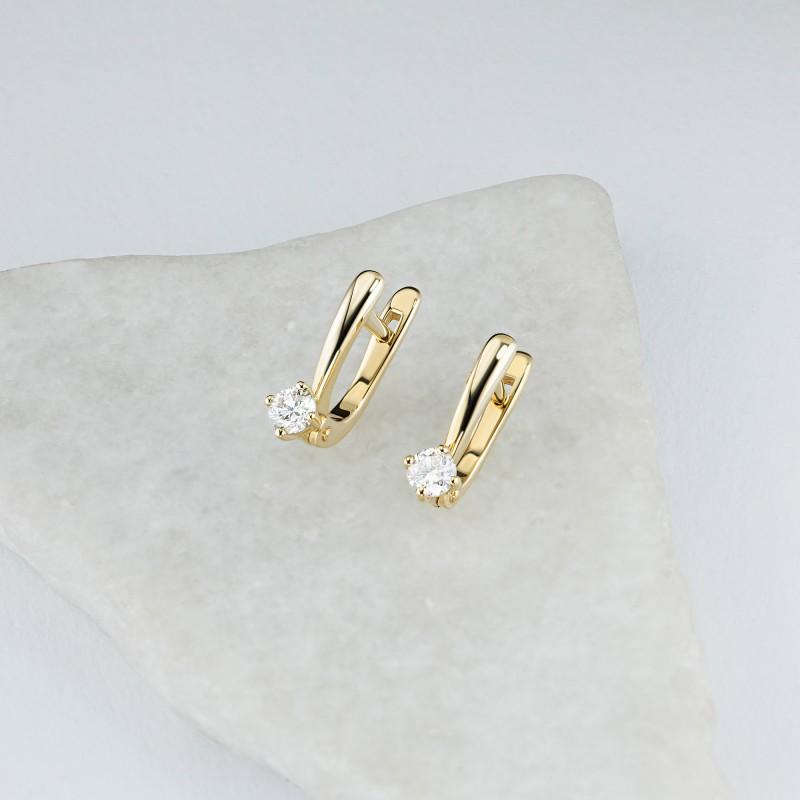Серьги из желтого золота с бриллиантом э0301сг04202987 (фото 4)