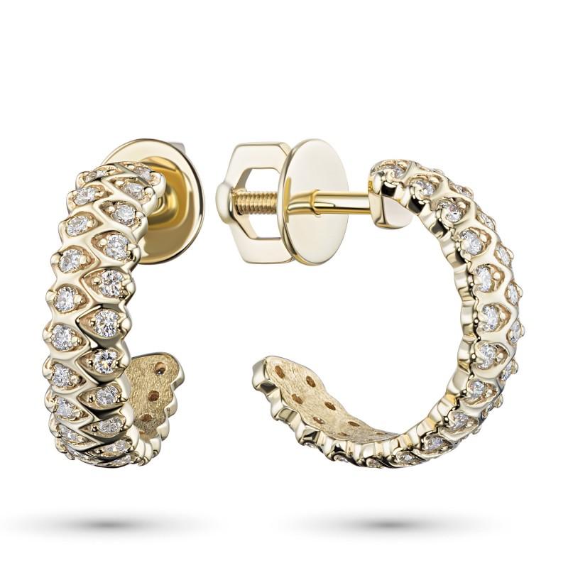 Пусеты из желтого золота с бриллиантом э0301пс12200014