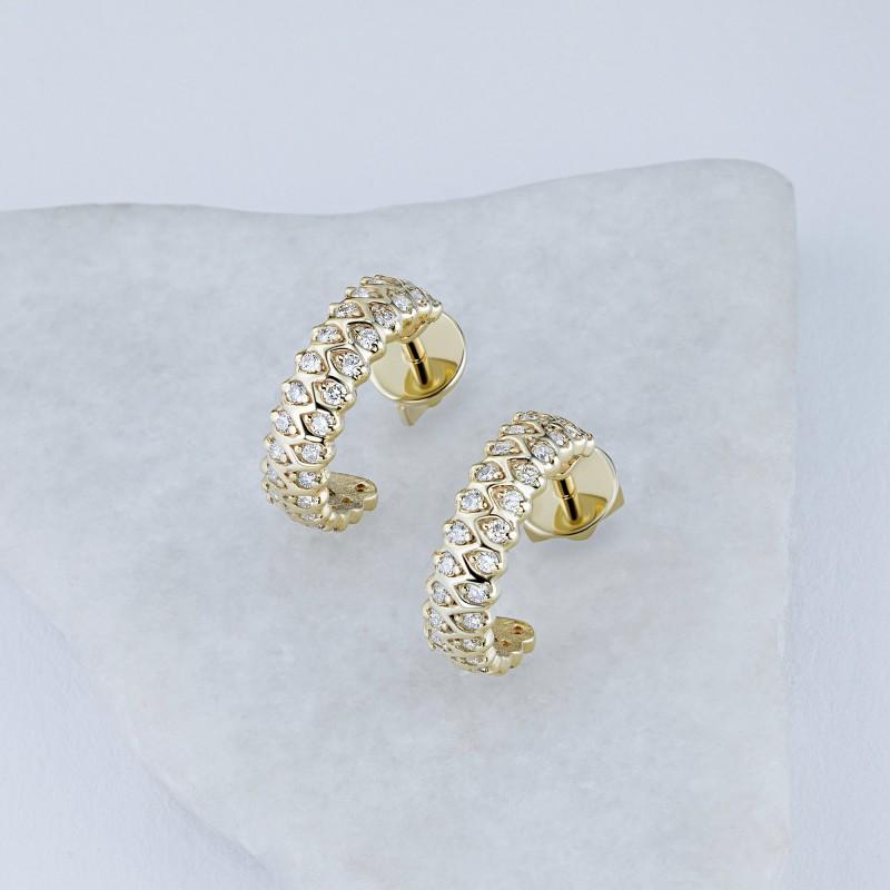 Пусеты из желтого золота с бриллиантом э0301пс12200014 (фото 4)