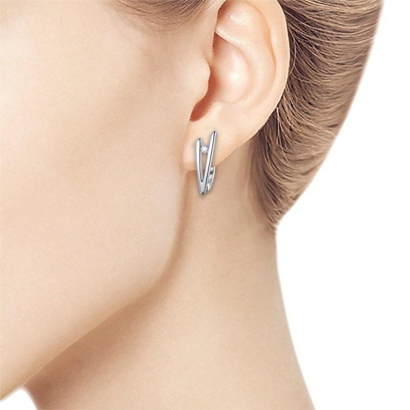 Серьги из серебра с бриллиантом э0601сг05157300 (фото 3)
