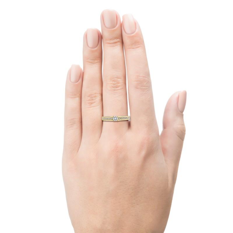 Кольцо из желтого золота с бриллиантами э0301кц04181800 (фото 3)