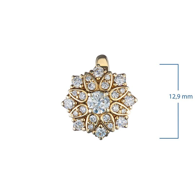Серьги из желтого золота с бриллиантами э0301сг04186100 (фото 2)
