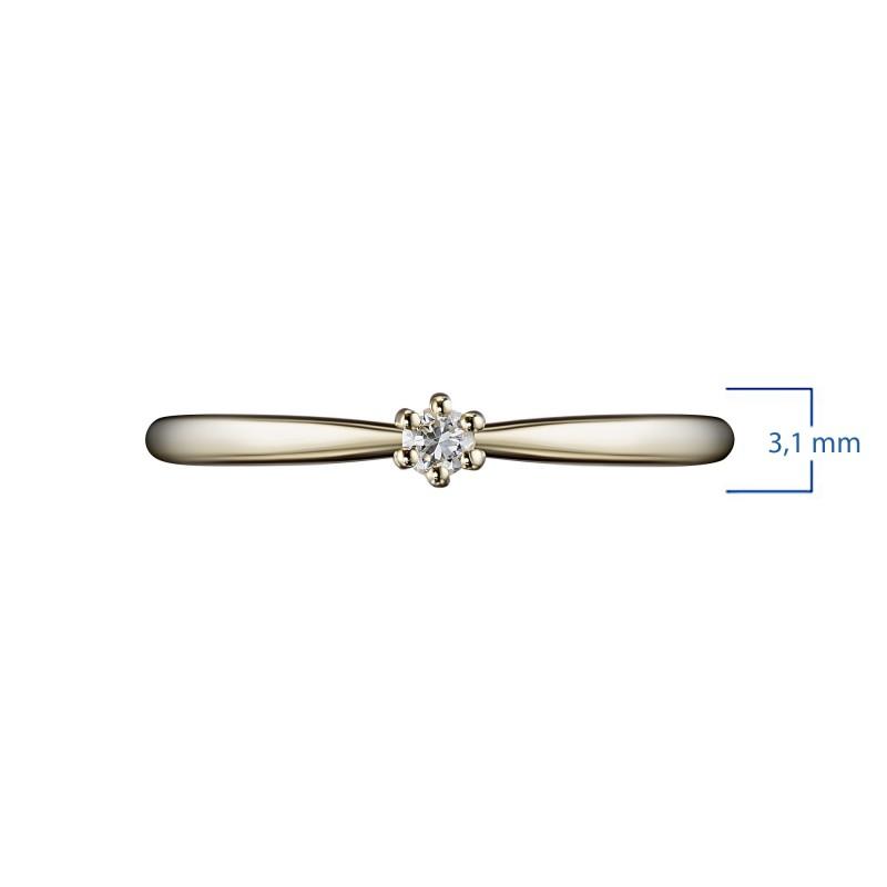 Кольцо из желтого золота с бриллиантом э0301кц03201030 (фото 3)