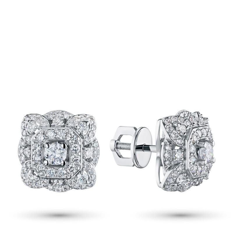 Пусеты из белого золота с бриллиантами э0901пс01210954