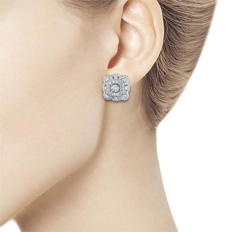 Пусеты из белого золота с бриллиантами э0901пс01210954 (фото 2)