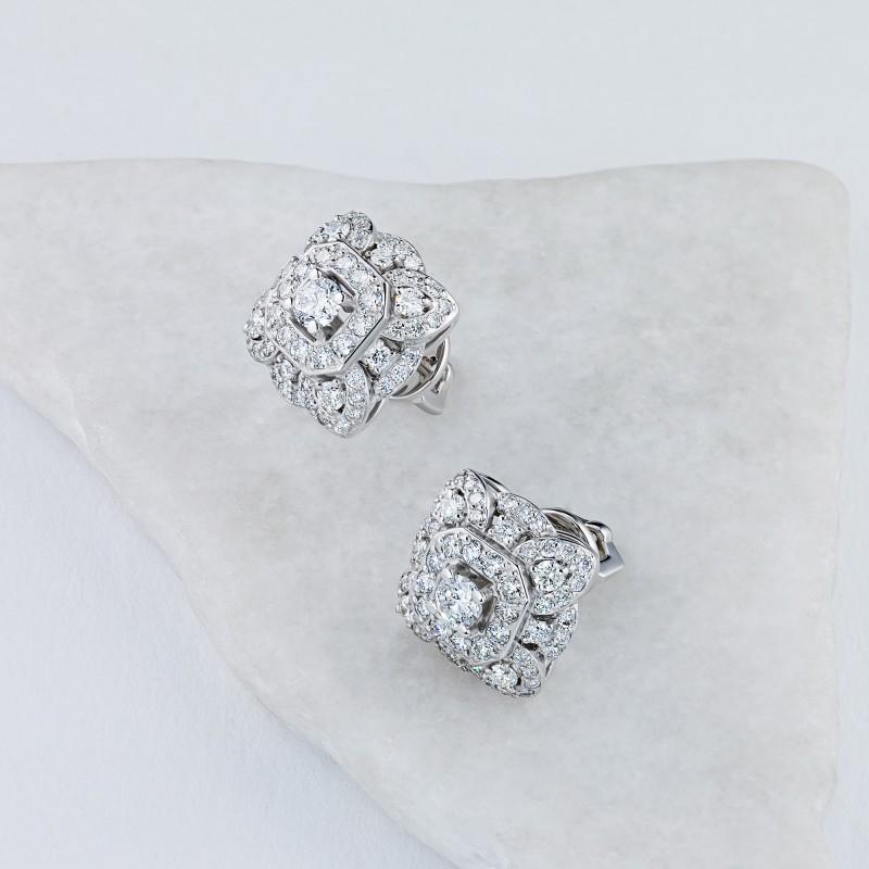 Пусеты из белого золота с бриллиантами э0901пс01210954 (фото 4)