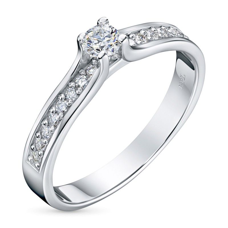 Кольцо из белого золота с бриллиантами э0901кц08200105