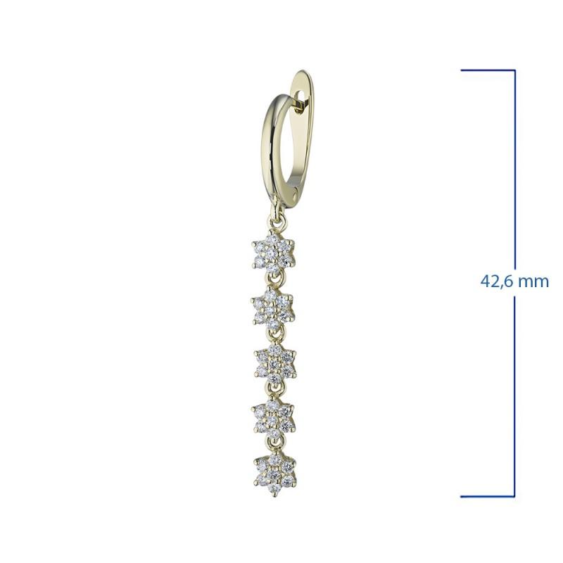 Серьги из желтого золота с бриллиантом э0301сг11162200 (фото 3)
