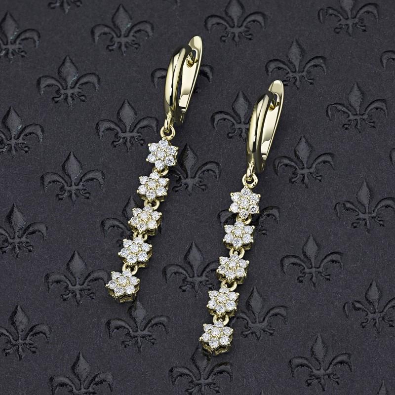 Серьги из желтого золота с бриллиантом э0301сг11162200 (фото 4)