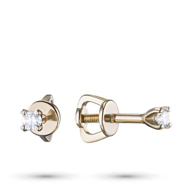 Пусеты из желтого золота с бриллиантом э0301пс11200104