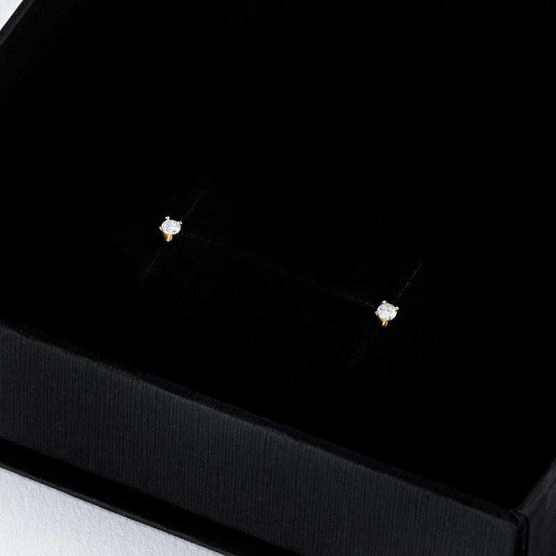 Пусеты из желтого золота с бриллиантом э0301пс11200104 (фото 4)