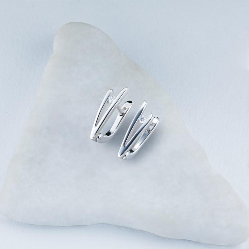 Серьги из серебра с бриллиантом э0601сг05157300 (фото 4)