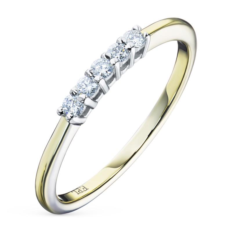 Кольцо из комбинированного золота с бриллиантом э1001кц07198390