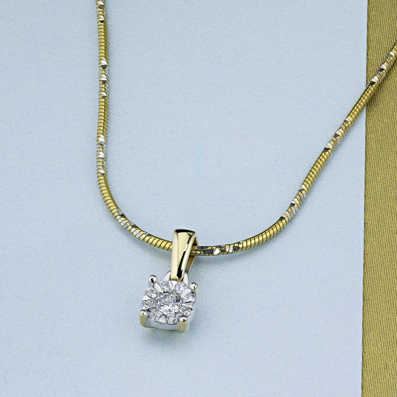 Подвеска из комбинированного золота с бриллиантами э1001пд09177100 (фото 4)