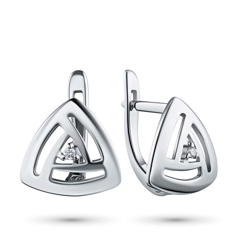 Серьги из серебра с бриллиантом э0601сг06200109