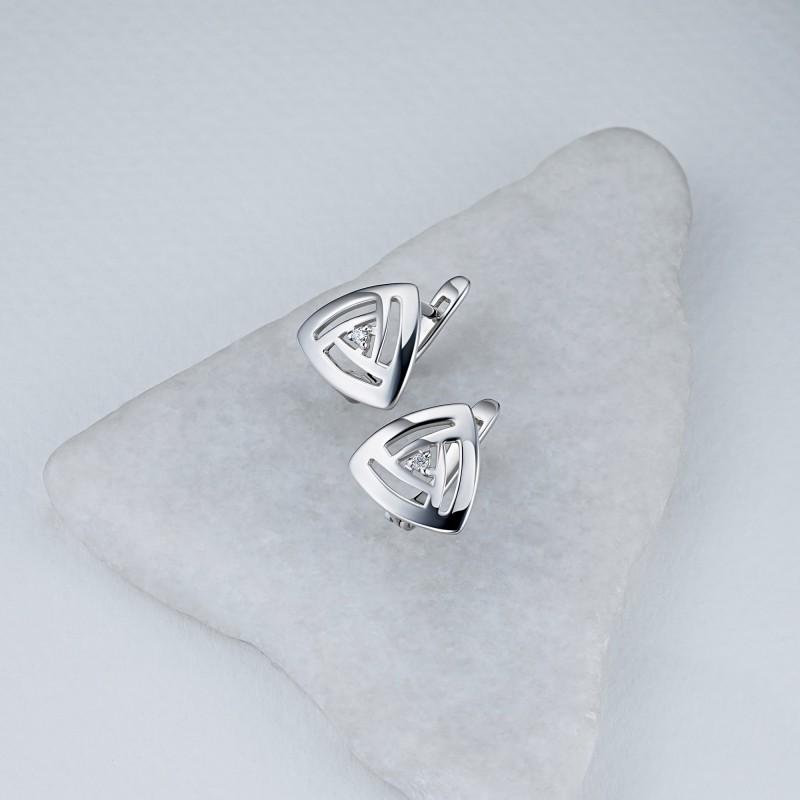 Серьги из серебра с бриллиантом э0601сг06200109 (фото 4)