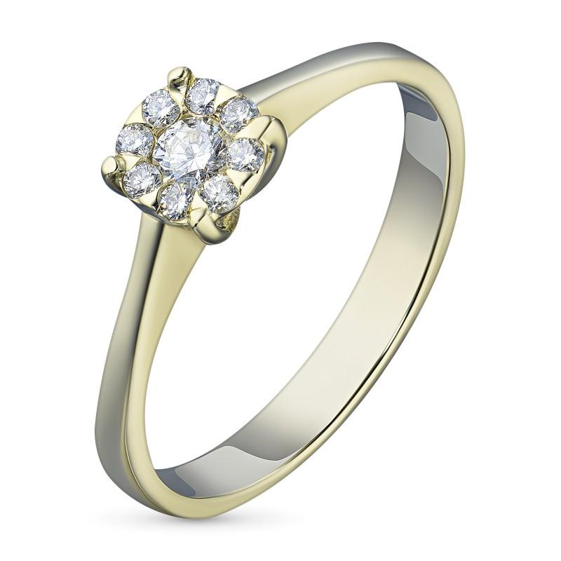 Кольцо из желтого золота с бриллиантами э0301кц10153800
