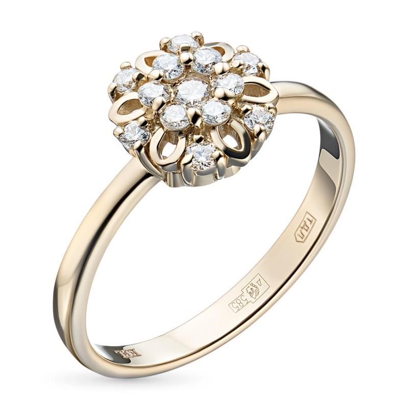Кольцо из желтого золота с бриллиантами э0301кц10170800