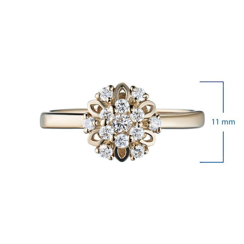 Кольцо из желтого золота с бриллиантами э0301кц10170800 (фото 2)
