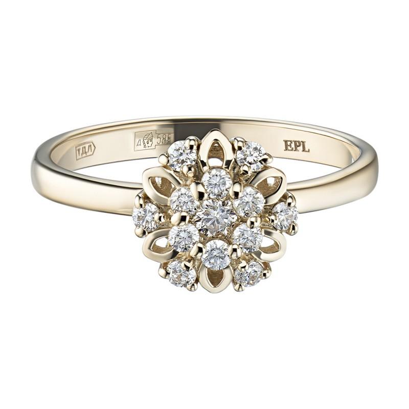 Кольцо из желтого золота с бриллиантами э0301кц10170800 (фото 3)