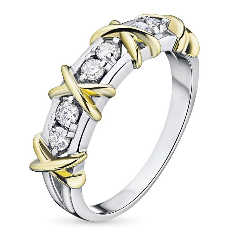 Кольцо из комбинированного золота с бриллиантом э1001кц07156100