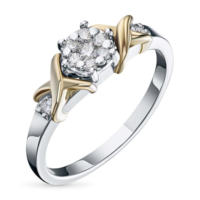 Кольцо из комбинированного золота с бриллиантами э1001кц02203650