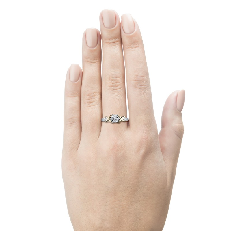 Кольцо из комбинированного золота с бриллиантами э1001кц02203650 (фото 2)