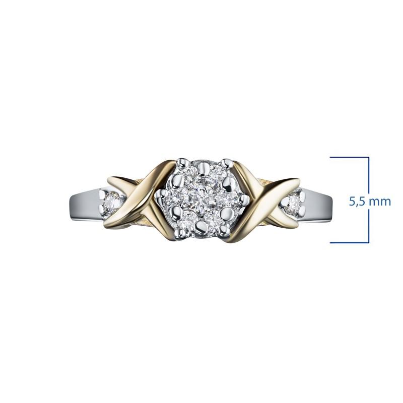 Кольцо из комбинированного золота с бриллиантами э1001кц02203650 (фото 3)